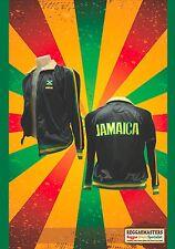 Giamaica Tuta Da Ginnastica Top nero con finiture verde/giallo REGGAE roots rasta