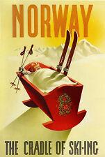 """Noruega.. """"la cuna del esquí""""... Vintage travel/skiing Cartel a1a2a3a4sizes"""