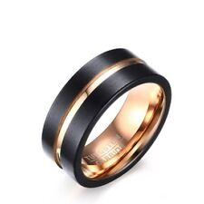 8MM Black Tungsten Steel Carbide Ring Men's 18K Rose Gold Wedding Band Size 7-12