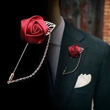 Tie for Women Men Clothing Accessories Men's Suit Rose Flower Brooch Pins Ribbon
