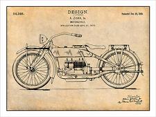 1919 Harley Davidson Motorcycle Patent Print Art Drawing Poster 18 X 24