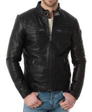 Mens Leather Jacket Quilted Shoulder Biker Style 100% REAL LAMBSKIN Mj 92