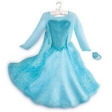 Disney Store Elsa Deluxe Costume w/ Light Up Bracelet Dress Frozen RETIRED NEW