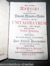 17604 HERRNHUTER Buch 1757 Cranz Nachricht böhmisch mährischen Brüder Kupfer