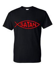 Men's T Shirt Satin Fish Black Shirt Devil Darwin Funny Novelty Satanic Tee