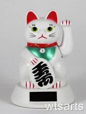 SOLAR POWERED Fortune Cat Maneki Neko (Beckoning), Lucky Cat
