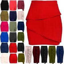 Womens Peplum Ruffle Frill Elasticated Waist Ladies Pencil Bodycon Mini Skirt