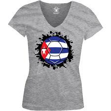 Cuba Flag Soccer Ball Futbol Leones Del Caribe Team CUB Juniors V-Neck T-Shirt