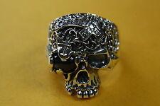 Calavera Skull Biker tatuaje Chopper señores anillo 925 plata anillo de plata/162