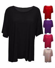 New Women Ladies Plain Short Sleeve Scoop Neck Casual Top T-shirt PlusSize 16-26
