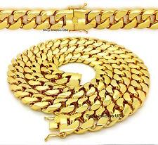 NEW MEN HEAVY 18mm 14K GOLD FINISH MIAMI CUBAN LINK CHAIN NECKLACE / BRACELET