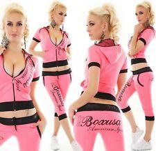 Damen Capri Jogginganzug Sport Fitness Freizeit kurz Jacke Hose neon pink S-XXL