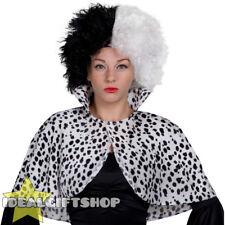 DALMATIAN PRINT CAPE LADIES STANDARD FANCY DRESS ANIMAL COSTUME EVIL DOG LADY