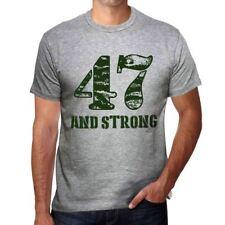 47 And Strong Hombre Camiseta Gris Regalo De Cumpleaños 00476