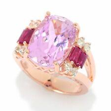 Meher's Jewelry 7.30ctw Cushion Cut Kunzite, Ruby & White Zircon Ring