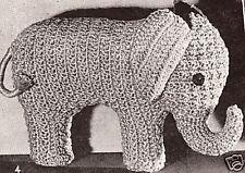 Vintage Crochet PATTERN to make Elephant Stuffed Animal Soft Toy CrochetEle2