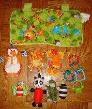 x9 INFANT CHILDREN'S TOYS LOT Kid's Plush BABY Animals Infantino Sassy Child