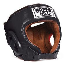 Greenhill boxing head guard Best helmet genuine leather kick boxing gear black