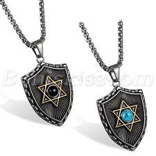 Vintage Gothic Stainless Steel Hexagram Star Shield Pendant Men's Necklace Chain