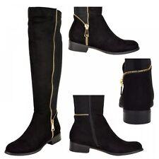 S456 Donna Camoscio Nero/Opache Zip Oro Tacco Basso Stivali Da Equitazione UK 3