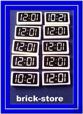 Lego bedruckte 1x2 Fliesen Neuware (7897) Eisenbahn Uhr