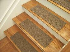 "Premium Carpet Stair Tread Sets - Herringbone Best Beige - 30"" x 8"""