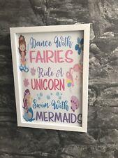 Unicorn Mermaids Faries Wall Picture Art Girls Bedroom Nursery