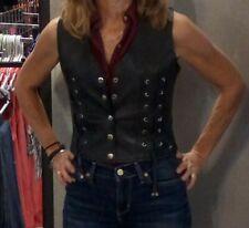 1216 Ladies Black Leather Motorcycle Vest