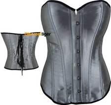 Elegant Silver Satin Corset Top Cincher Shapewear Petite & Plus Sizes 6 to 26