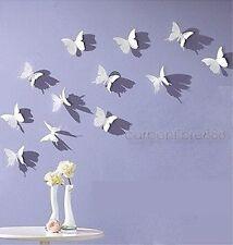 WHITE 3D Butterfly Wall Stickers Art Decal 12pcs PVC Butterflies Home DIY Decor