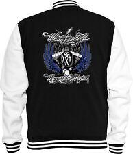 Biker Sweat College chaqueta White Lightning Chopper V-Twin Skull v8