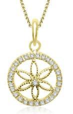 Circle Pendant Necklace Natural Diamond Prong Set SI1 G 0.60 Ct 14K Yellow Gold
