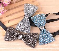Stylish Adjustable Men's Tie Glitter Rhinestone Bowtie Sparkle Tuxedo Bow Tie
