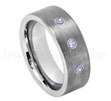 Tungsten Ring, 0.21ctw Tanzanite 3-Stone Ring,December Birthstone #669