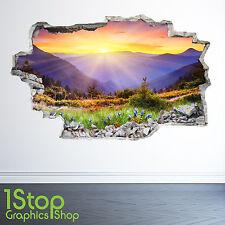 montagnes PRAIRIE Coucher de soleil mur autocollant 3D LOOK - salon nature