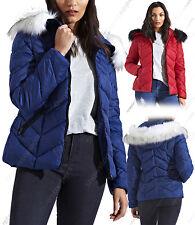NEUF Womens matelassé manteau hiver femmes Doudoune col fourrure veste capuche