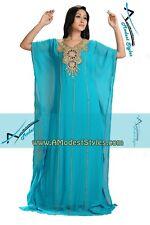 Blue DUBAI ABAYA KAFTAN Hijab Muslim Islam Wedding Dress *USA SELLER* MDfhs15