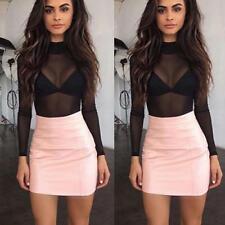 Women Sexy Mesh See Through Blouse Transparent Hollow T Shirt Top  SA