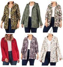 New Ladies Plain All Over Floral Animal Design Showerproof Mac Raincoats Jackets