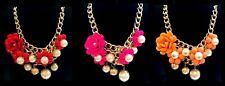 Fashion Jewellery Flor Grande Perla Grueso Cadena Collar de declaración * elija * Nuevo