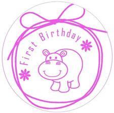Girls first Birthday stickers party labels invitation seals pink designer x 50
