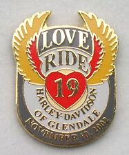 """HARLEY DAVIDSON GLENDALE CALIFORNIA DEALER MDA 2002 19th """"LOVE RIDE"""" VEST PIN"""
