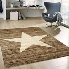 Teppich Modern Design Braun Beige Kurzflor Sternenmuster Jugendstil Trend