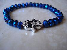 Hamsa Bracelet Stretch Bracelet Sterling Silver Charm Unisex FREE SHIPPING