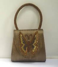 Bead Sequin Silk Butterfly Bag + Beaded Handle NEW