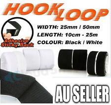 25mm 50mm Heavy Duty Adhesive Sticky Back Hook & Loop Fastening Tape White Black