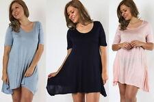 NEW Plus Size Light Weight Short Sleeve Scoop Neck Swing Dress- L/XL/1X-2X-3X