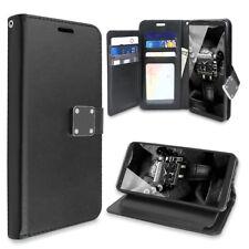 For LG Stylo 4 Removable Wallet Magnetic Flip Card Case+Black Tempered Glass