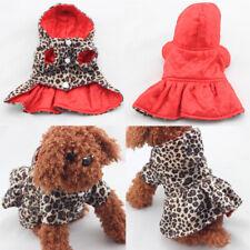 Dogs Cats Princess Leopard Coat Hooded Jacket Puppy Hoodie Cotton Tutu Dress