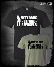 Veterans Before Refugees T-Shirt Trump Military Support Travel Ban Meme USA MAGA